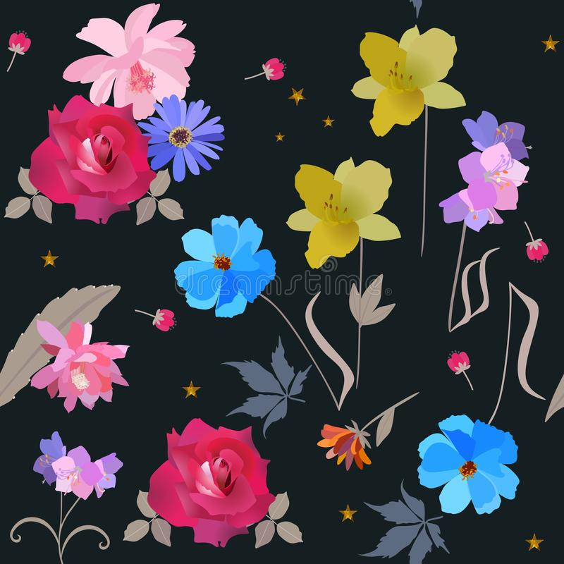 Seamless square natural pattern with rose, cactus, daisy, day lily, cosmos and bell flowers isolated on black background in vector stock illustration