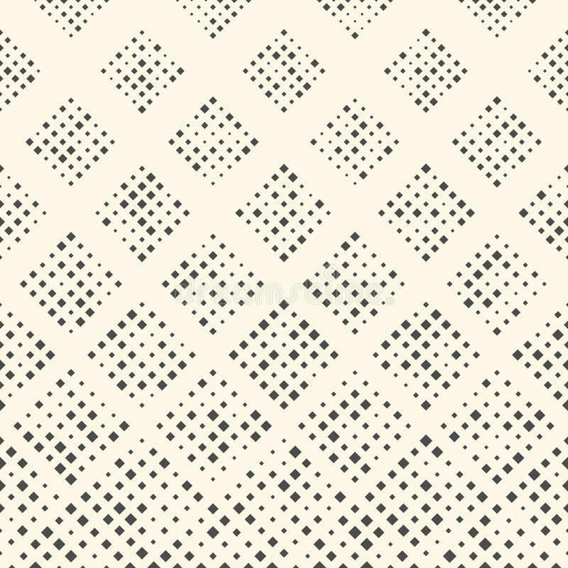 Seamless Square Pattern. Abstract Black and White Geometric Ornament. Vector Regular Dots Texture. Abstract Wrapping Paper Background stock illustration