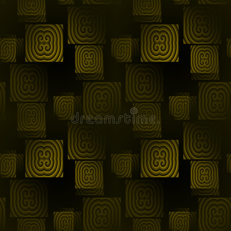 Seamless square pattern green black stock image