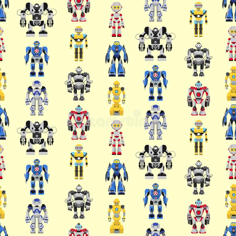 Seamless square robots pattern. Colorful pattern with various kinds of detailed robots royalty free illustration