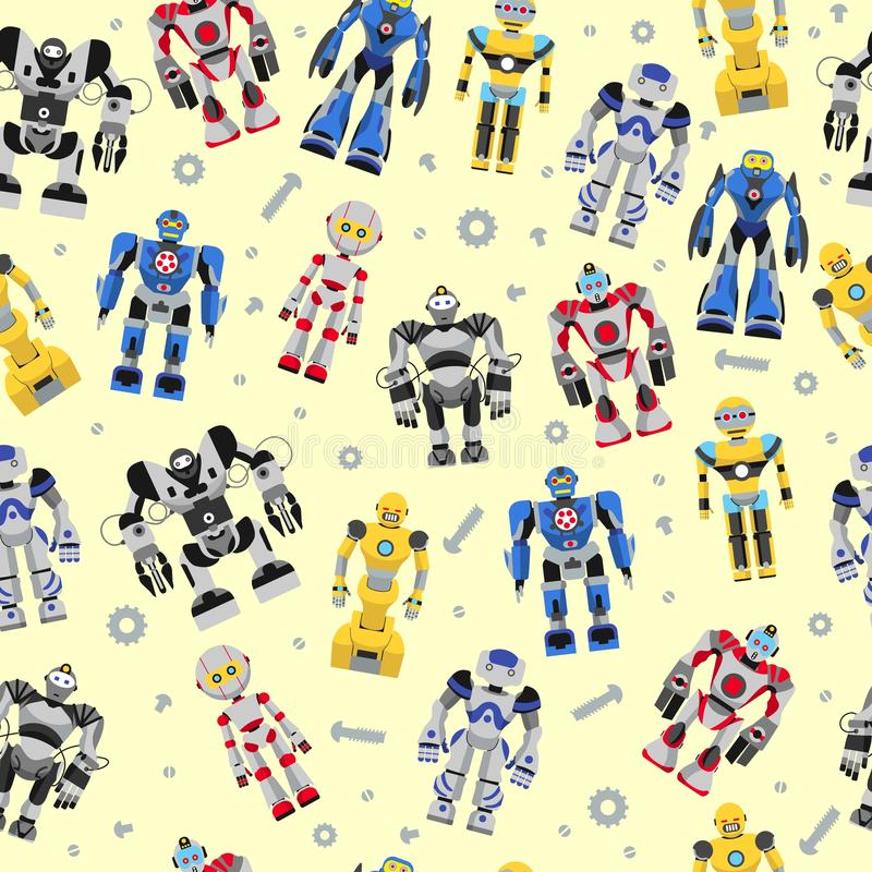 Seamless square robots pattern vector illustration