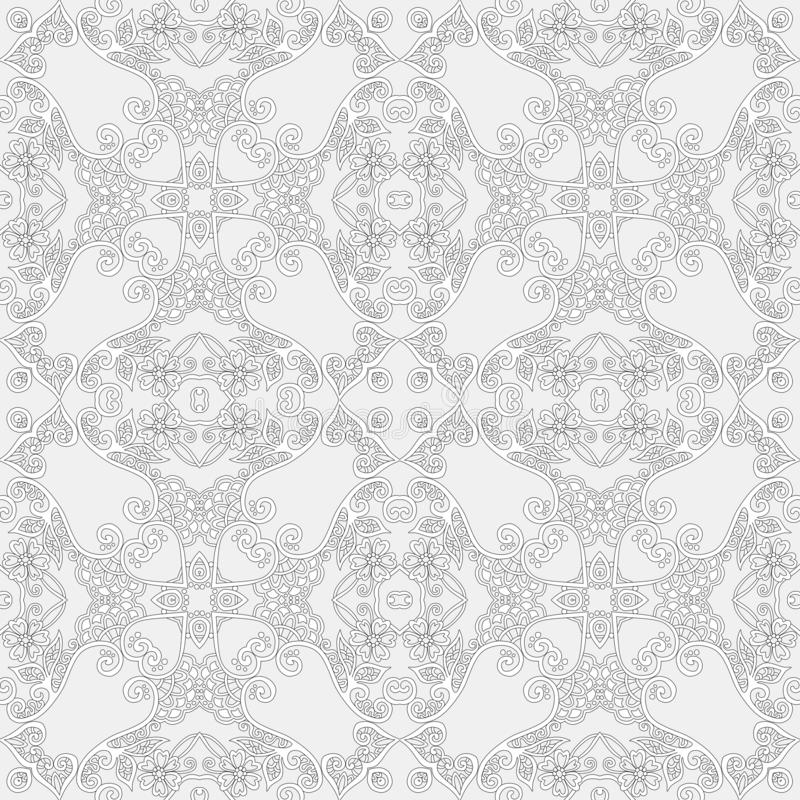 Seamless square stylized lace pattern with leaves and flowers royalty free illustration