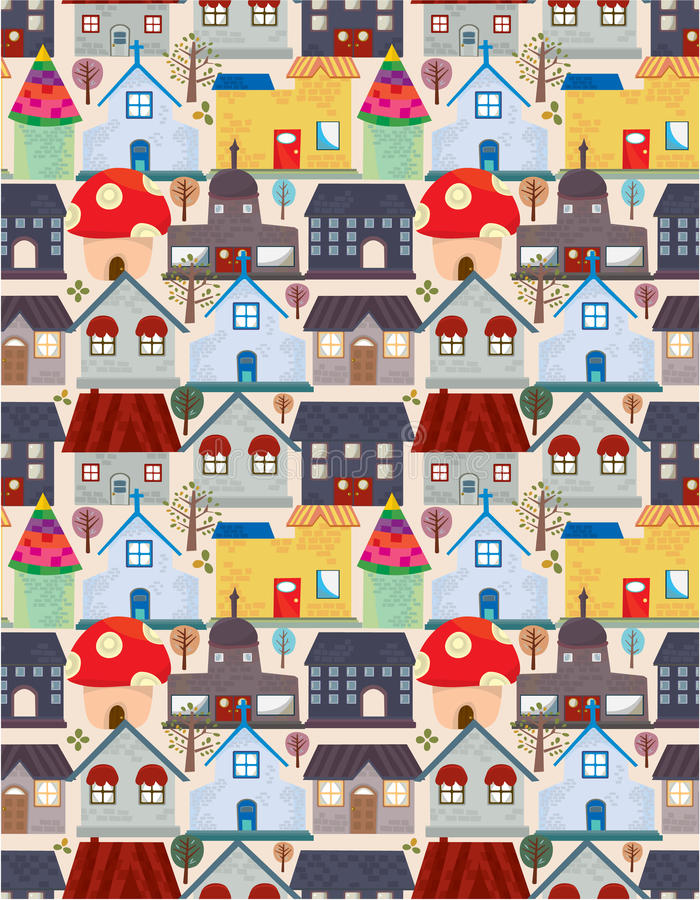 seamless stadsmodell stock illustrationer