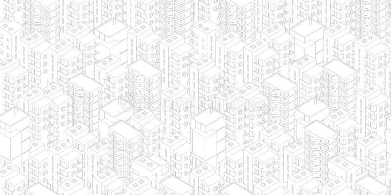 seamless stadsmodell Vit ljus bakgrund för byggnadstak r Vektorillustrationmateriel Gråa linjer översikt stock illustrationer