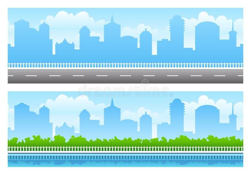 seamless stadspanoramer vektor illustrationer