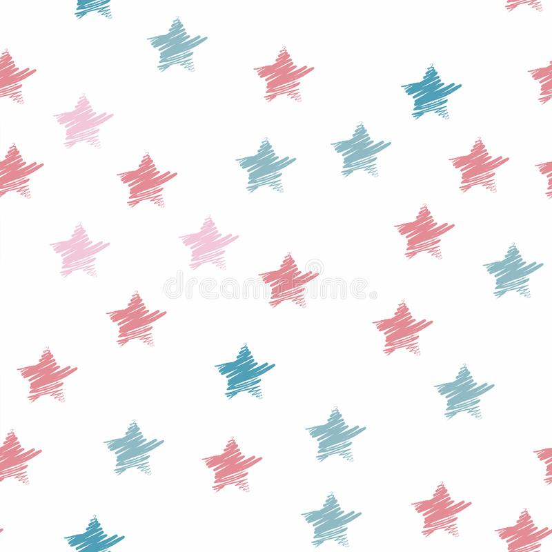 Seamless star pattern pastel color. Colorful hand drawn star background. stock illustration