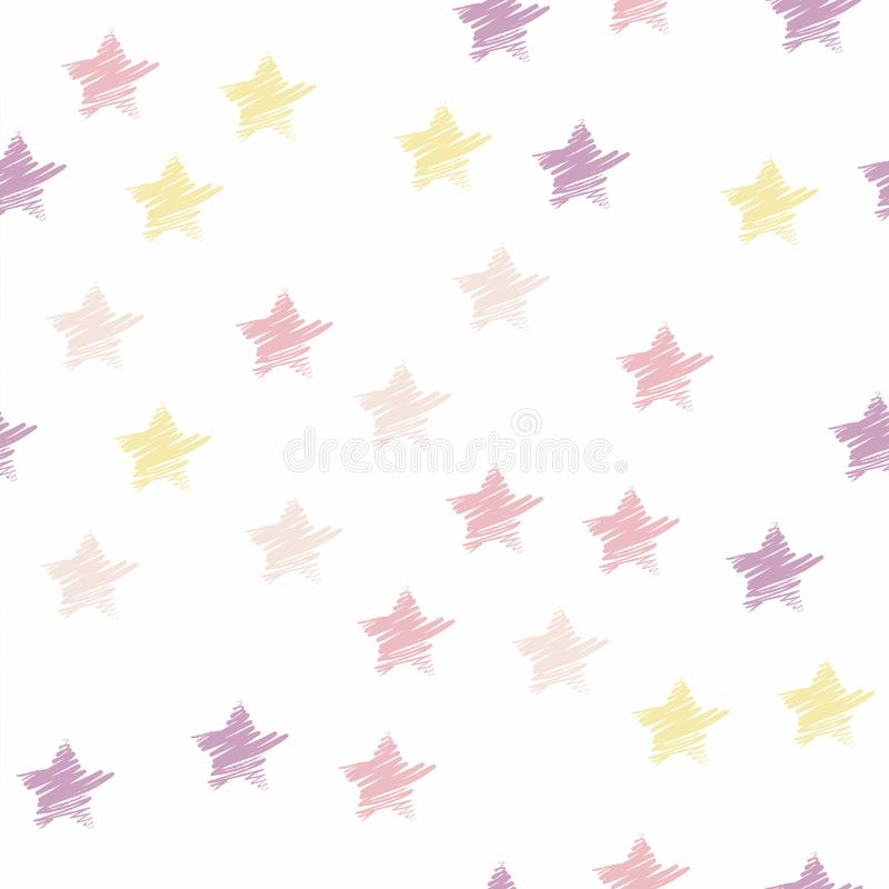 Seamless star pattern pastel color. Colorful hand drawn star background. vector illustration