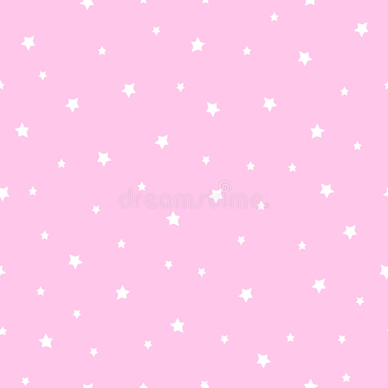 Seamless Stars Pattern On Baby Pink Background. Stock ...