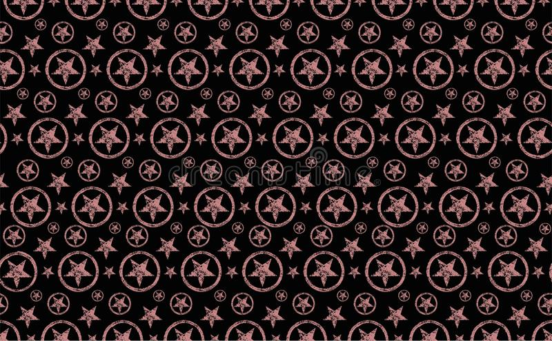 Seamless stars pattern.Black background and pastel pink orange grunge stars in circle.. Seamless vector pattern with big and small orange grunge stars on a royalty free illustration