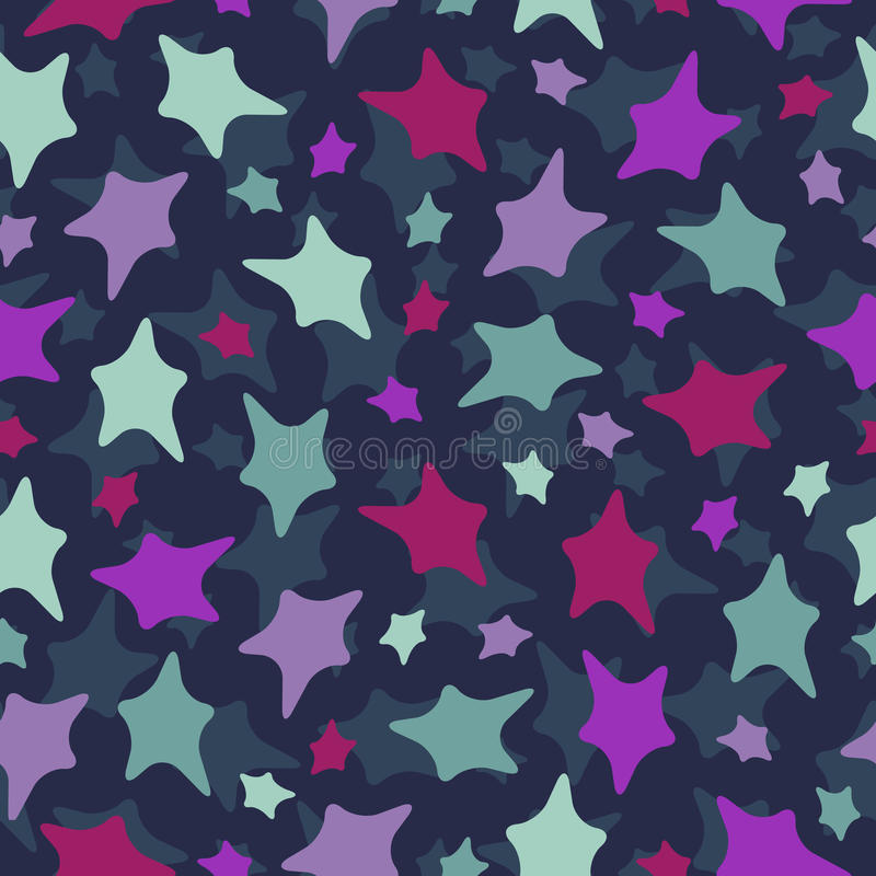 Seamless stars pattern: colorful doodles on dark b stock illustration