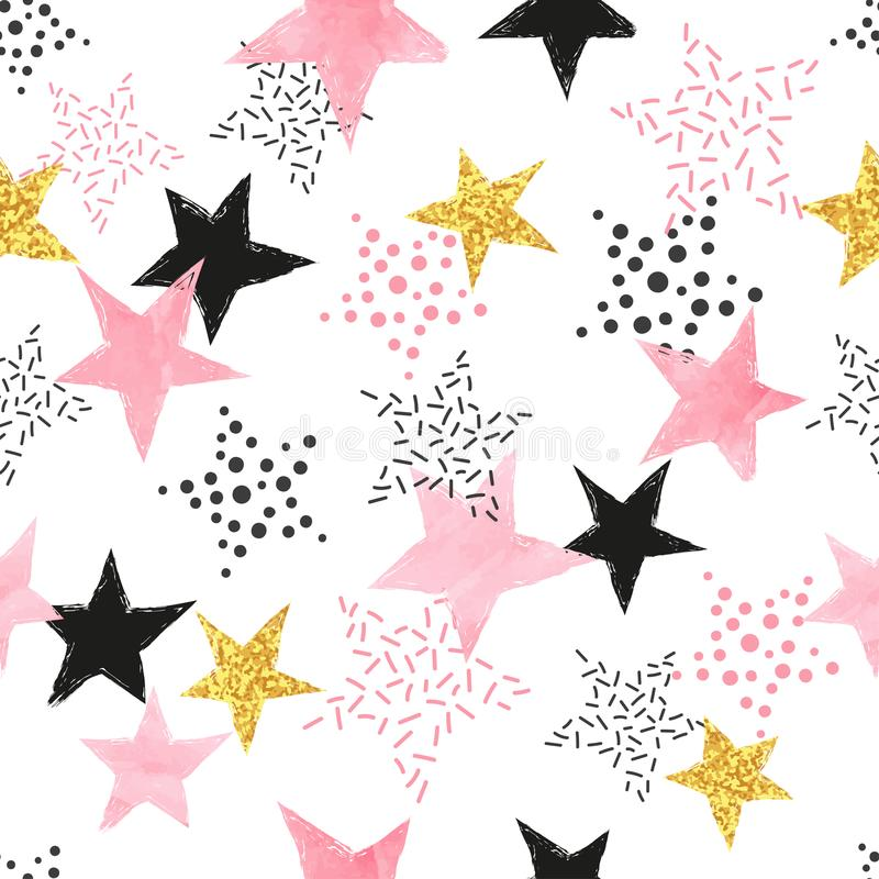 Seamless pattern with watercolor pink and glittering golden stars. vector illustration