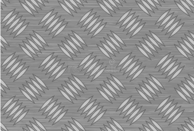Seamless steel diamond plate vector. Surface, closeup stock illustration