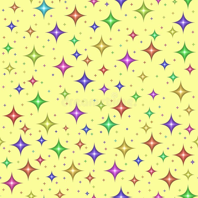 seamless stjärnor för mångfärgad modell stock illustrationer