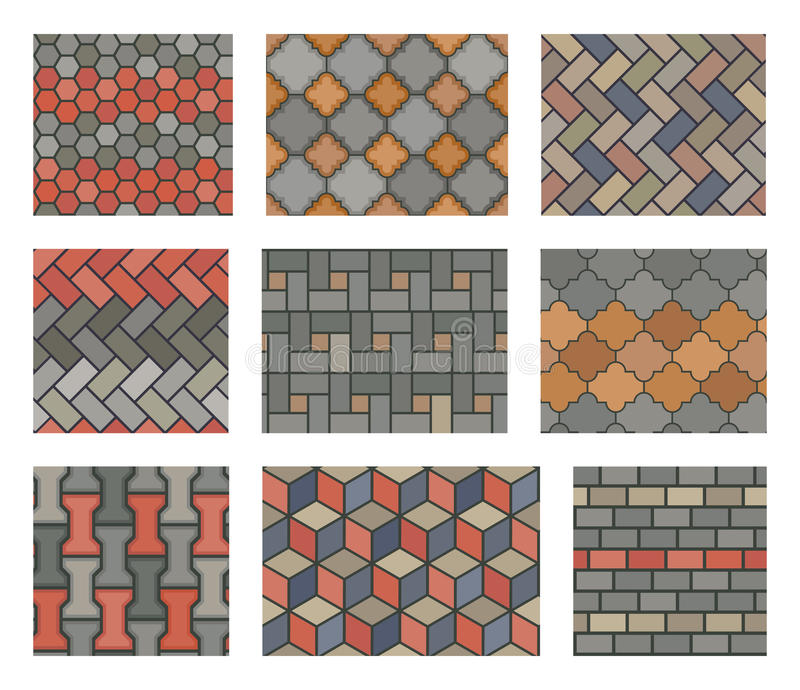 Seamless stone tiles pavement vector set. landscape design elements. Pattern stone pavement and illustration tiles stone wall vector illustration