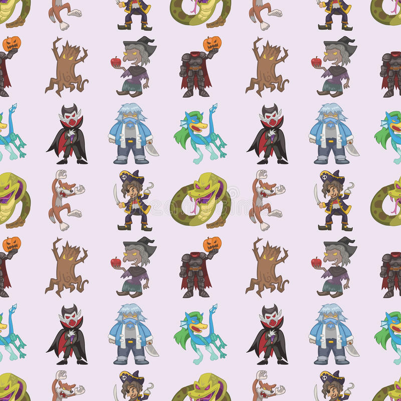 Seamless Story Villain Pattern Stock Images