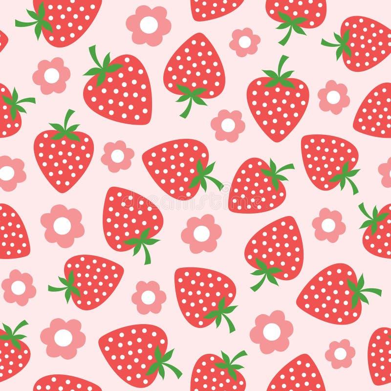 Seamless strawberry pattern royalty free illustration