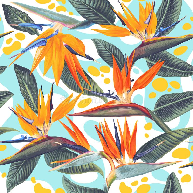 Seamless pattern with bright color splashes and tropical flowers and leaves of Strelitzia Reginae. royalty free illustration