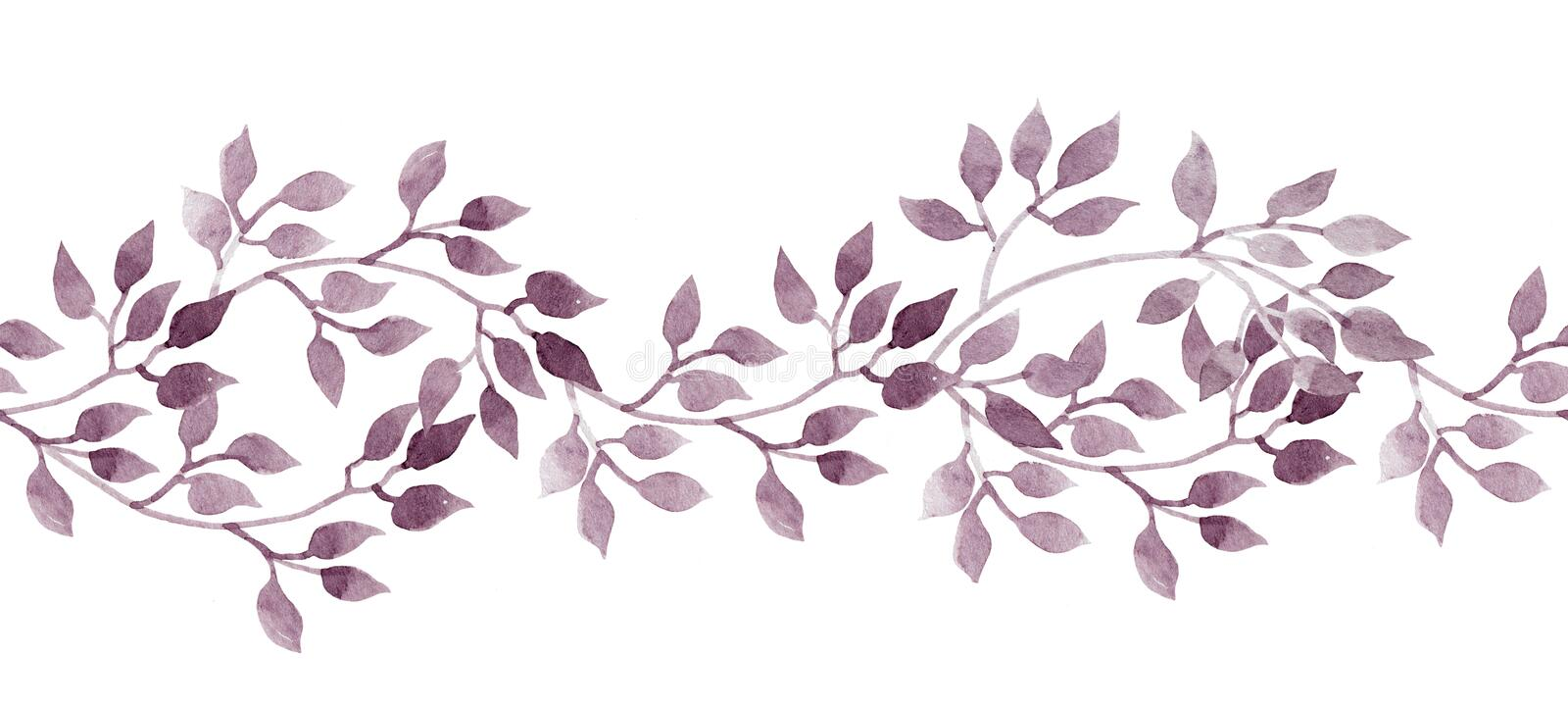 Seamless stripe banner - hand painted watercolour leaves. Repeated pattern. vector illustration