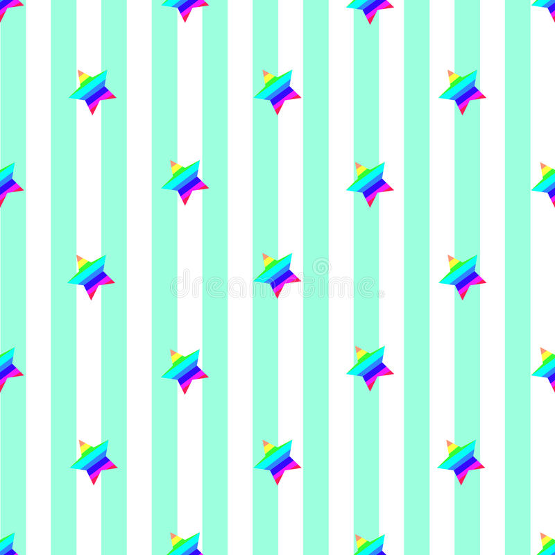 Seamless stripe pattern abstract vector background retro design light blue vertical green lines ornamented rainbow colored stars vector illustration