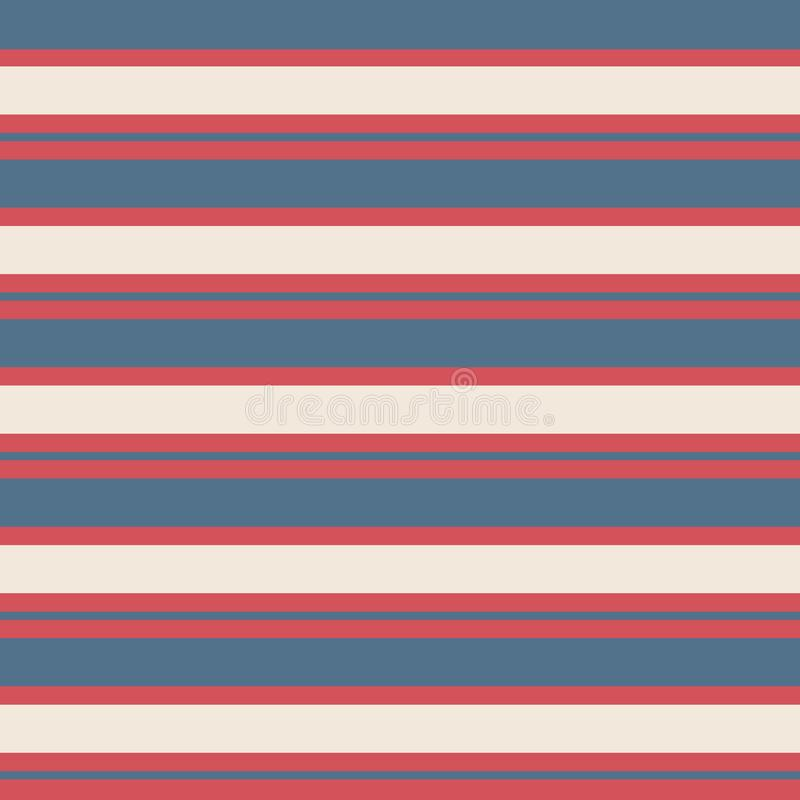 Seamless stripe vintage pattern with colored horizontal parallel stripes red, blue and cream background. vector illustration