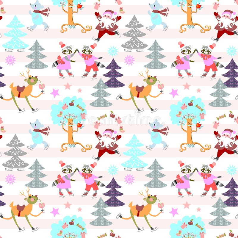 Seamless striped Christmas pattern with winter forest, cute cartoon animals and Santa Claus. Vector illustration vector illustration