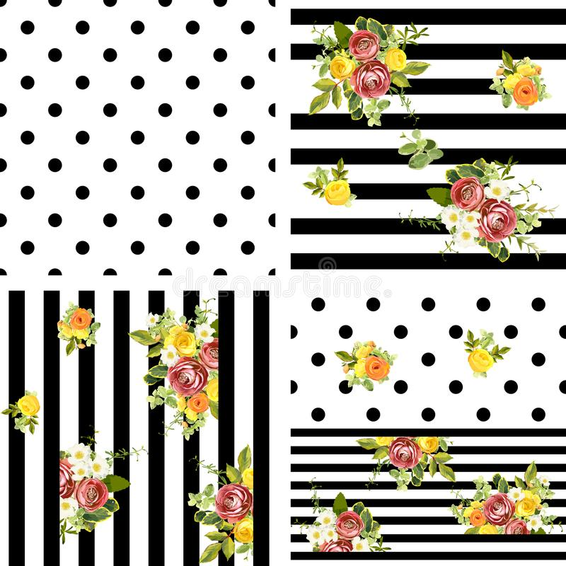 Seamless striped and dots style floral pattern. Vector illustration stock illustration