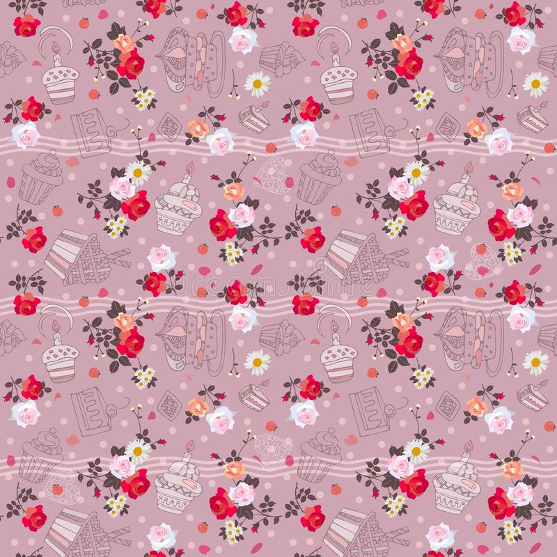 Seamless striped floral pattern with cupcakes and polka dot. Beautiful vector illustration vector illustration