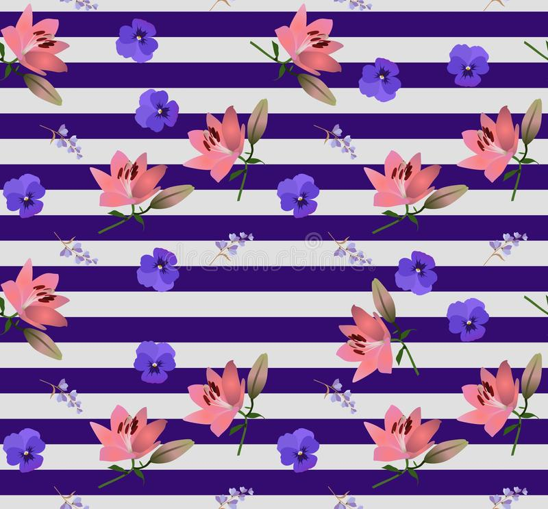 Seamless striped floral pattern with little bell flowers, large pink lilies and blue violets in vector. Print for fabric stock illustration