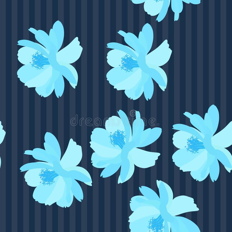 Seamless striped floral pattern with unique blue cosmos flowers, digital drawing and watercolor texture. Vector summer design.  vector illustration
