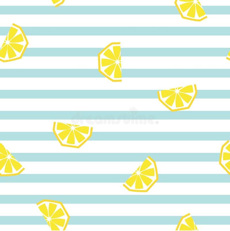 Seamless striped lemon geometric pattern, vector illustration. stock illustration