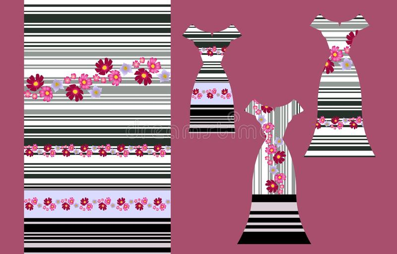 Seamless striped pattern with beautiful flowers and set of three dress template stock illustration