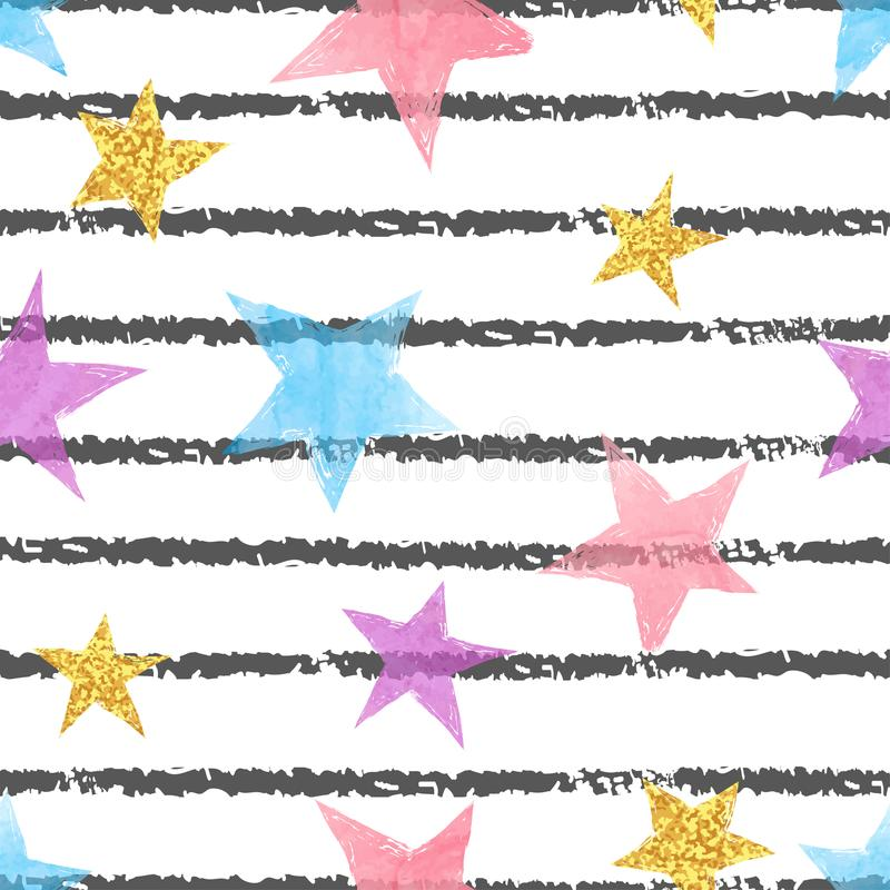 Seamless striped pattern with colorful stars. Vector background stock illustration
