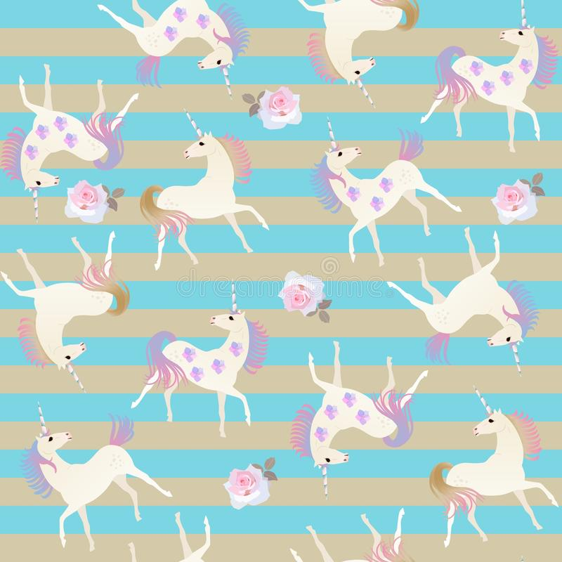 Seamless striped pattern with cute cartoon unicorns, rose and bell flowers in vector stock illustration
