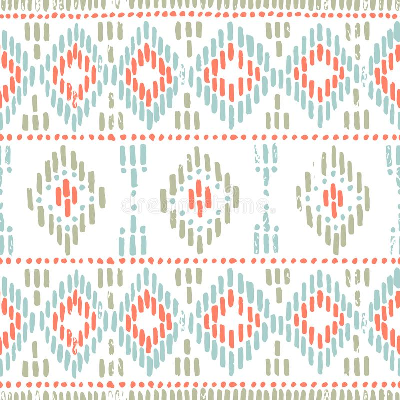 Seamless striped pattern. Ethnic and tribal motifs. Vintage print, grunge texture.Simple ornament. Handmade. White, gray, pink stock illustration