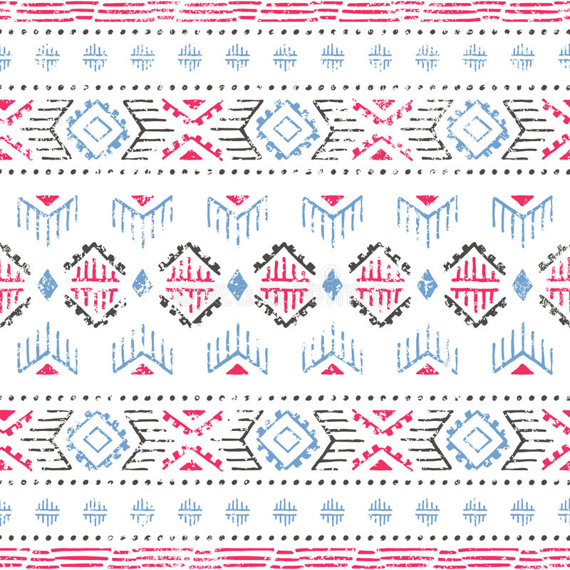 Seamless striped pattern. Ethnic and tribal motifs. Vintage print, grunge texture.Simple ornament. Handmade. White, gray, pink royalty free illustration