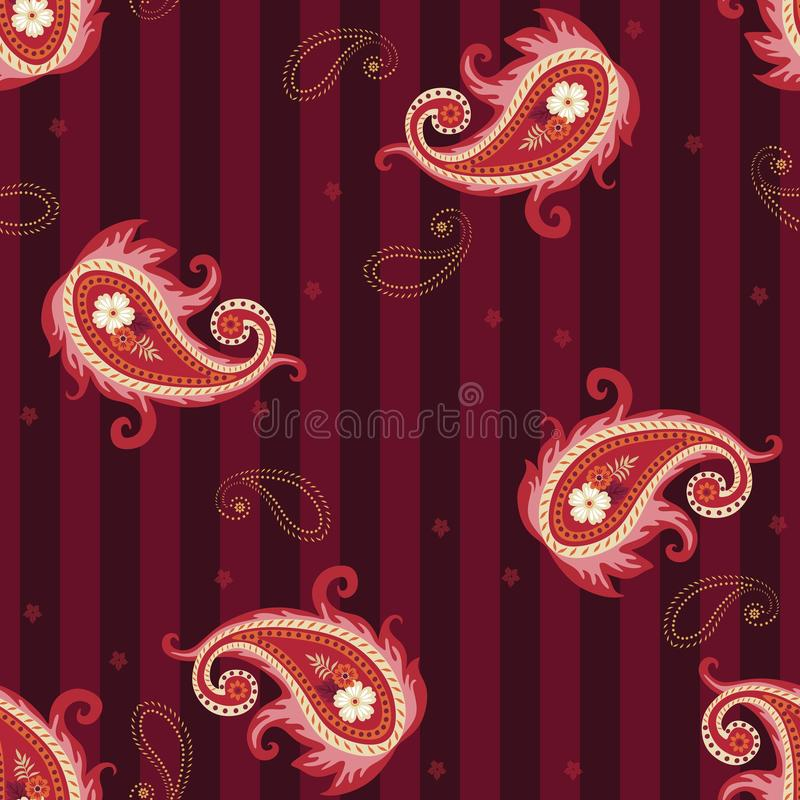 Seamless striped pattern with red paisley and tiny abstract flowers on purple background. Print for fabric royalty free illustration