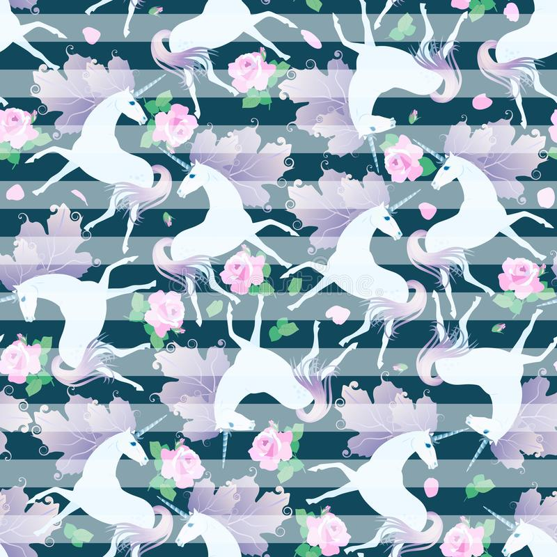 Seamless striped pattern with roses and cute unicorns with manes in shape of huge viburnum leaves. Print for fabric stock illustration
