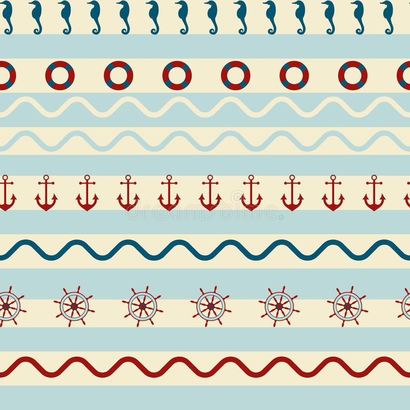 Seamless striped pattern with sea anchor stock illustration