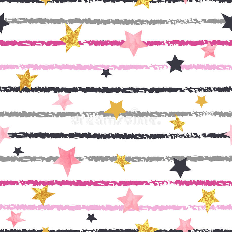 Seamless striped pattern with stars. Vector background vector illustration