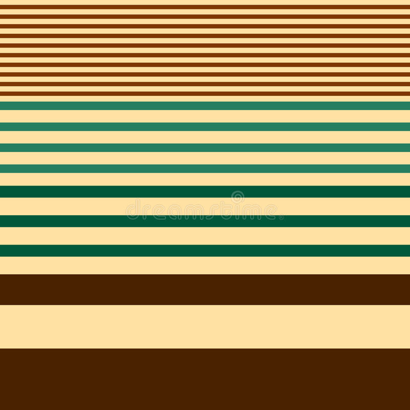 Seamless stripes pattern geometric vector background design with different widths of brown green lines coming from thick to thin. On beige backdrop royalty free illustration