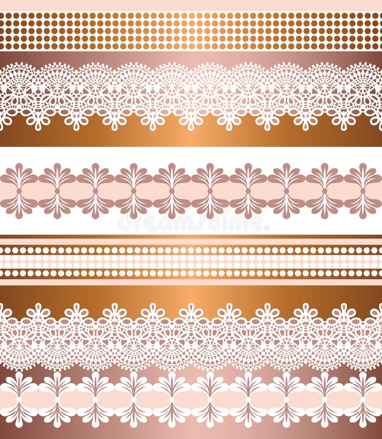Seamless stripes pattern. Stripe Set of Lace Bohemian Seamless Borders. Decorative ornament backdrop for fabric, textile, wrapping royalty free illustration