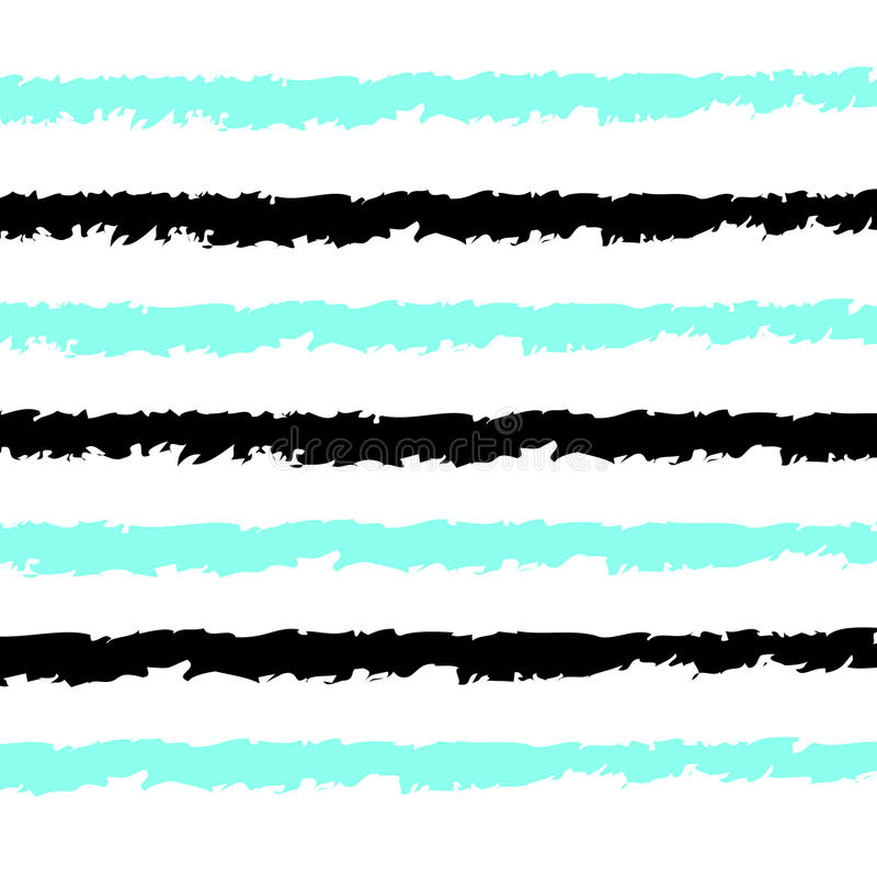 Seamless stripes pattern vector background with horizontal hand drawn like black and aqua blue lines white backdrop stock illustration