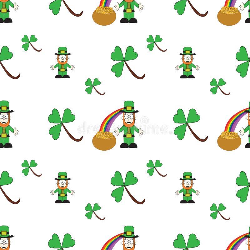 Seamless Sts Patrick dag mönstrar royaltyfri illustrationer