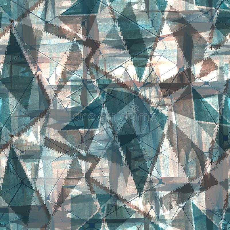Seamless stylish grunge geometric pattern in blue, gray colors. Colorful background vector illustration