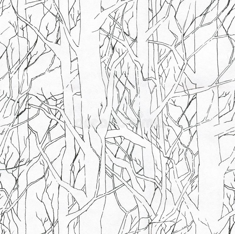 Seamless stylish pattern with hand drawn endless forest. Infinite black and white illustration. Seamless stylish pattern with hand drawn endless forest and real stock illustration
