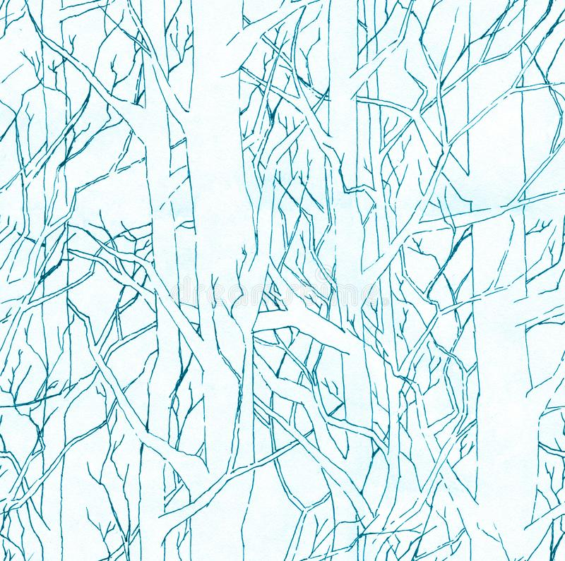 Seamless stylish pattern with hand drawn endless forest. Infinite illustration with blue shading. Seamless stylish pattern with hand drawn endless forest and stock illustration