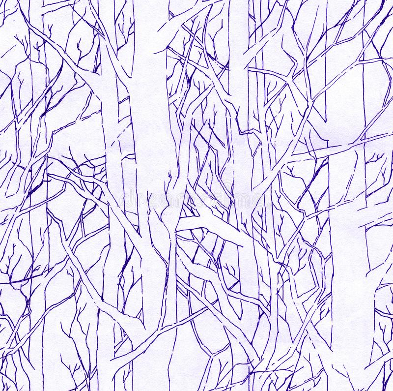Seamless stylish pattern with hand drawn endless forest. Infinite illustration with purple shading. Seamless stylish pattern with hand drawn endless forest and royalty free illustration