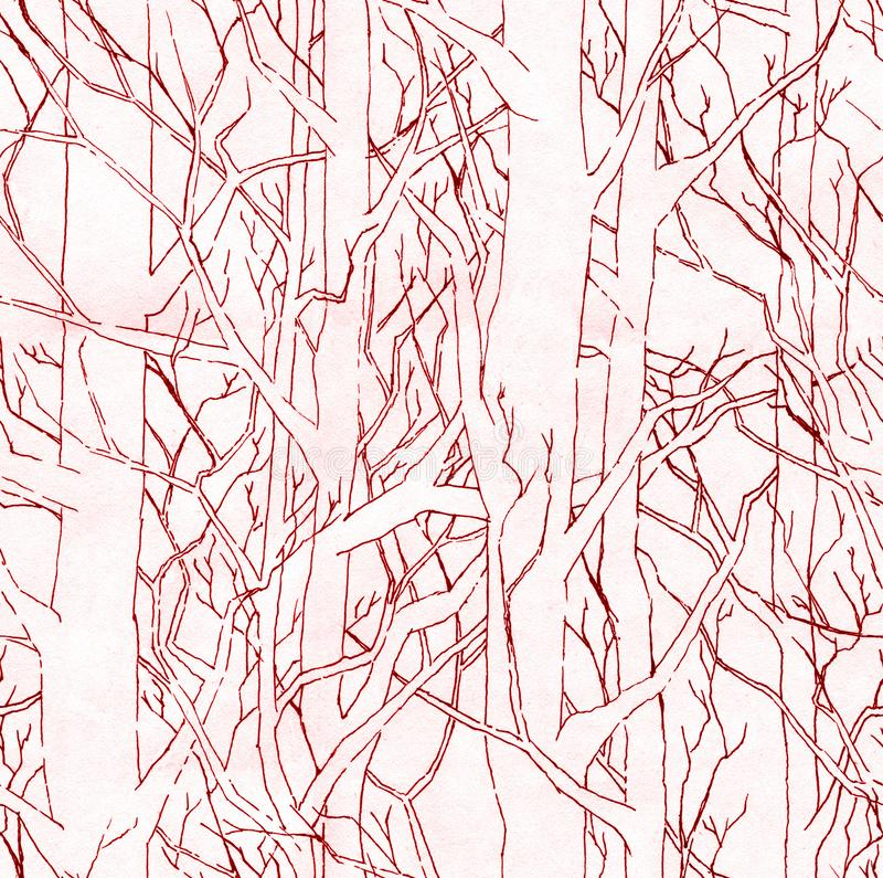 Seamless stylish pattern with hand drawn endless forest. Infinite illustration with terracotta shading. Seamless stylish pattern with hand drawn endless forest vector illustration