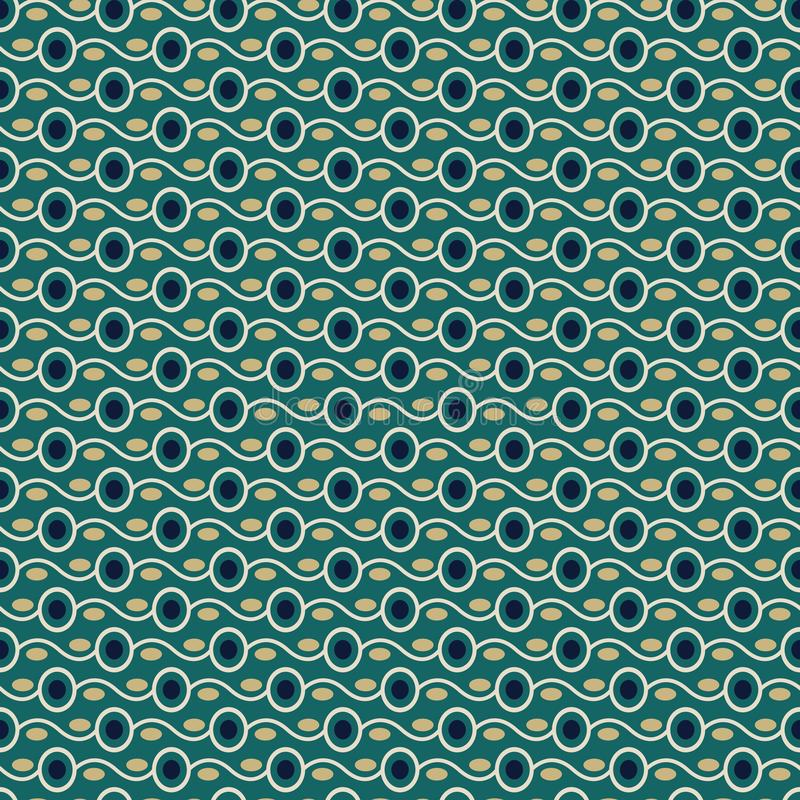 Seamless stylish texture with connected circles and blue color. For wallpaper, surface, web design, textile, decor vector illustration