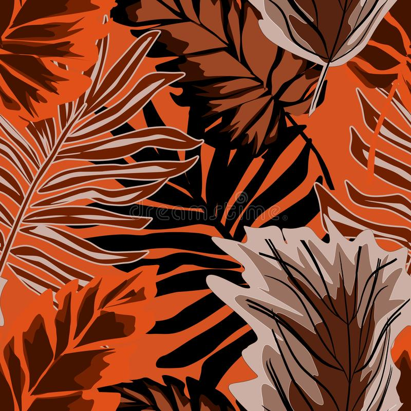 Seamless stylish tropical pattern. Palm tree, tropical leaves on orange background. stock illustration